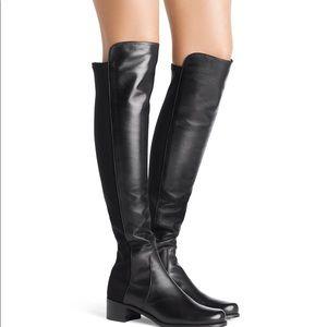 Stuart Weitzman Reserve Black Leather Boots 9.5